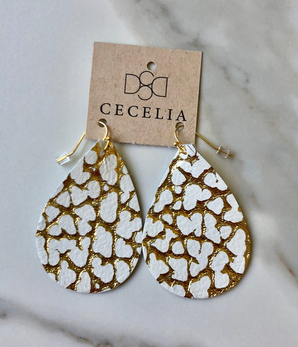 White Cheetah Leather Earrings