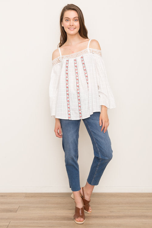 White Embroidered Off The Shoulder