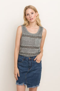 Gray Washed, Lace Stripe | Sleeveless Top