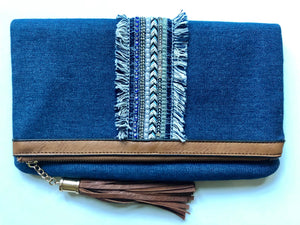 Denim Fringe Clutch