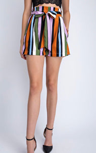 The Party | Striped Paper Bag Shorts