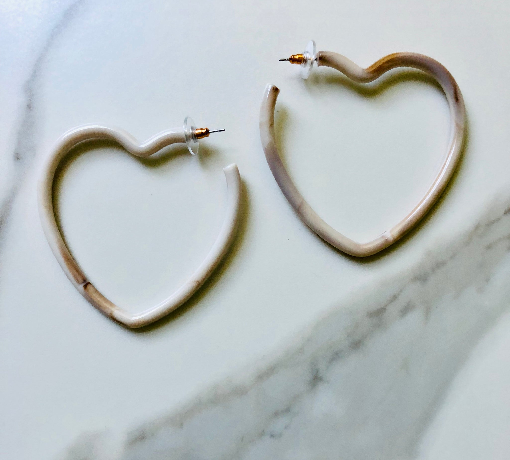 Neutral Heart Acrylic Earrings