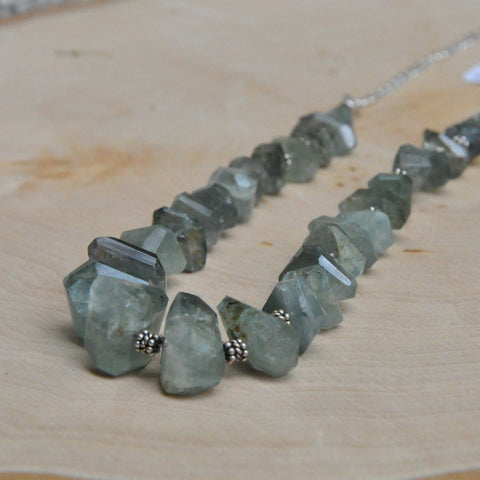 """Moss Marine"" Moss Aquamarine Necklace"