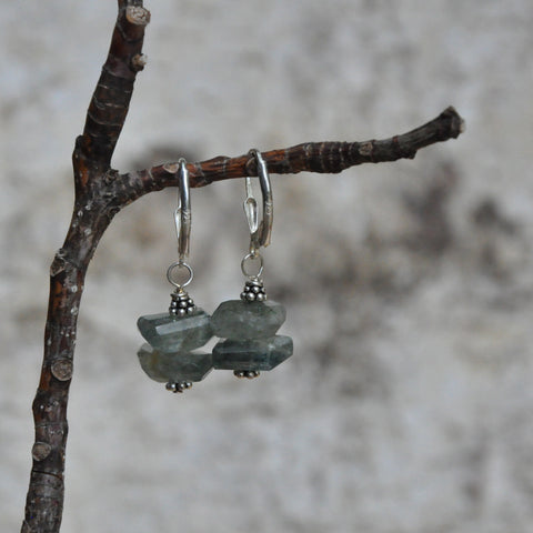 """Moss Marine"" Moss Aquamarine Earrings"