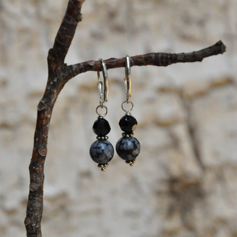 """Winter"" Snowflake Obsidian Earrings"