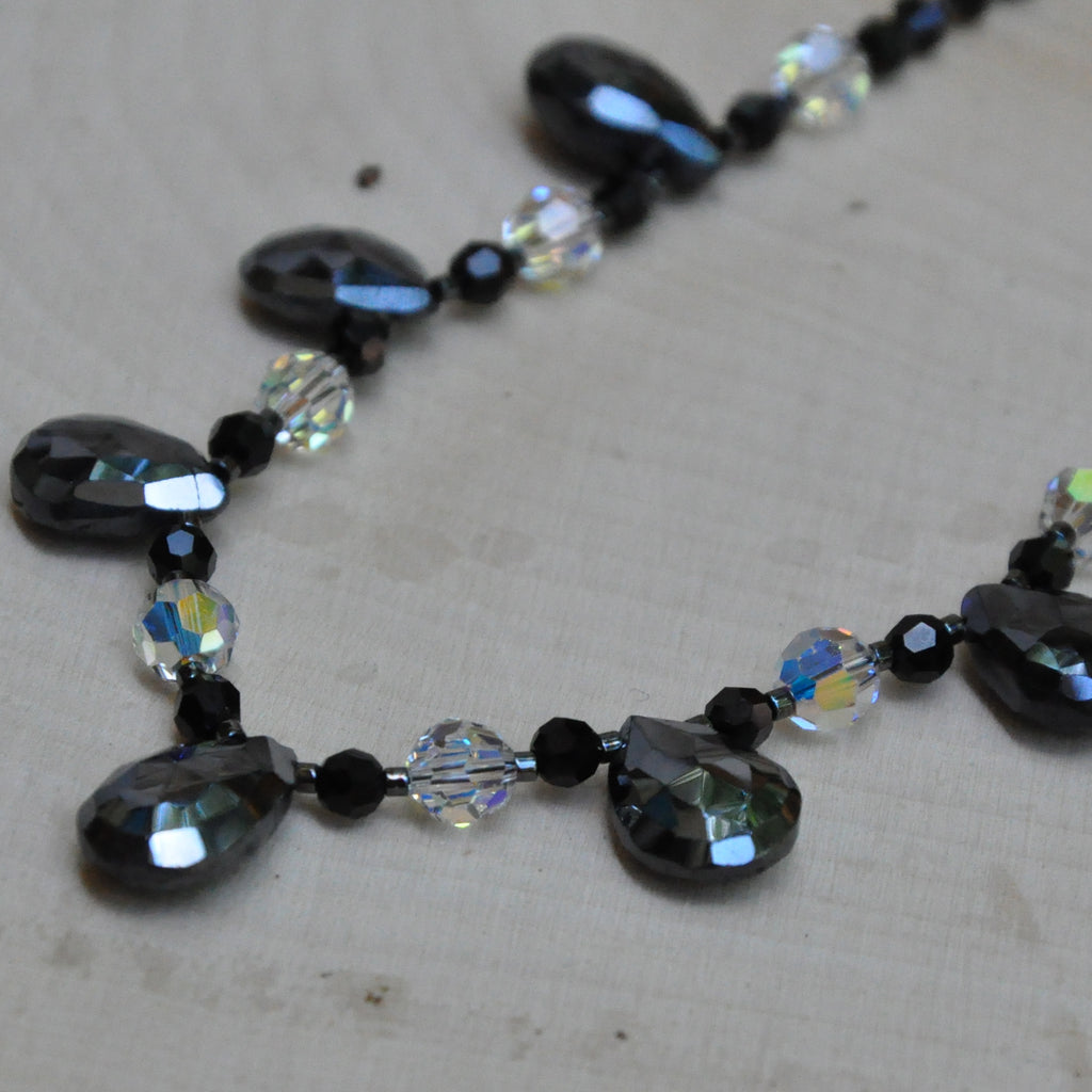 """Evening Shimmer"" Spinel Teardrops Swarovski Crystal Necklace"