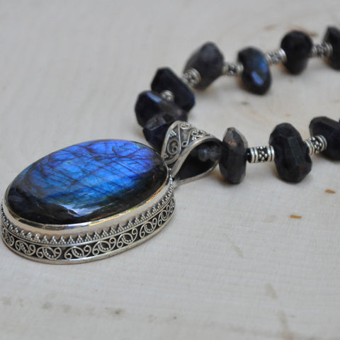 """Declaration"" Blue Labradorite with Fine Bali Silver Necklace"