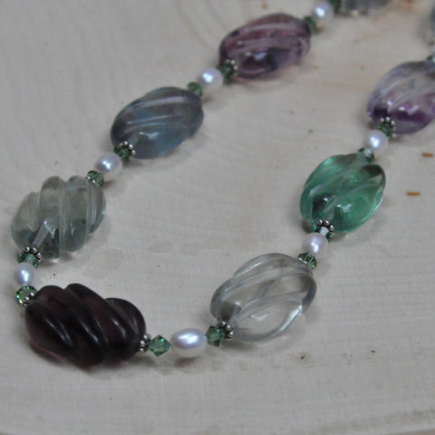 """Rainbow Ripples"" Rainbow Fluorite Necklace"