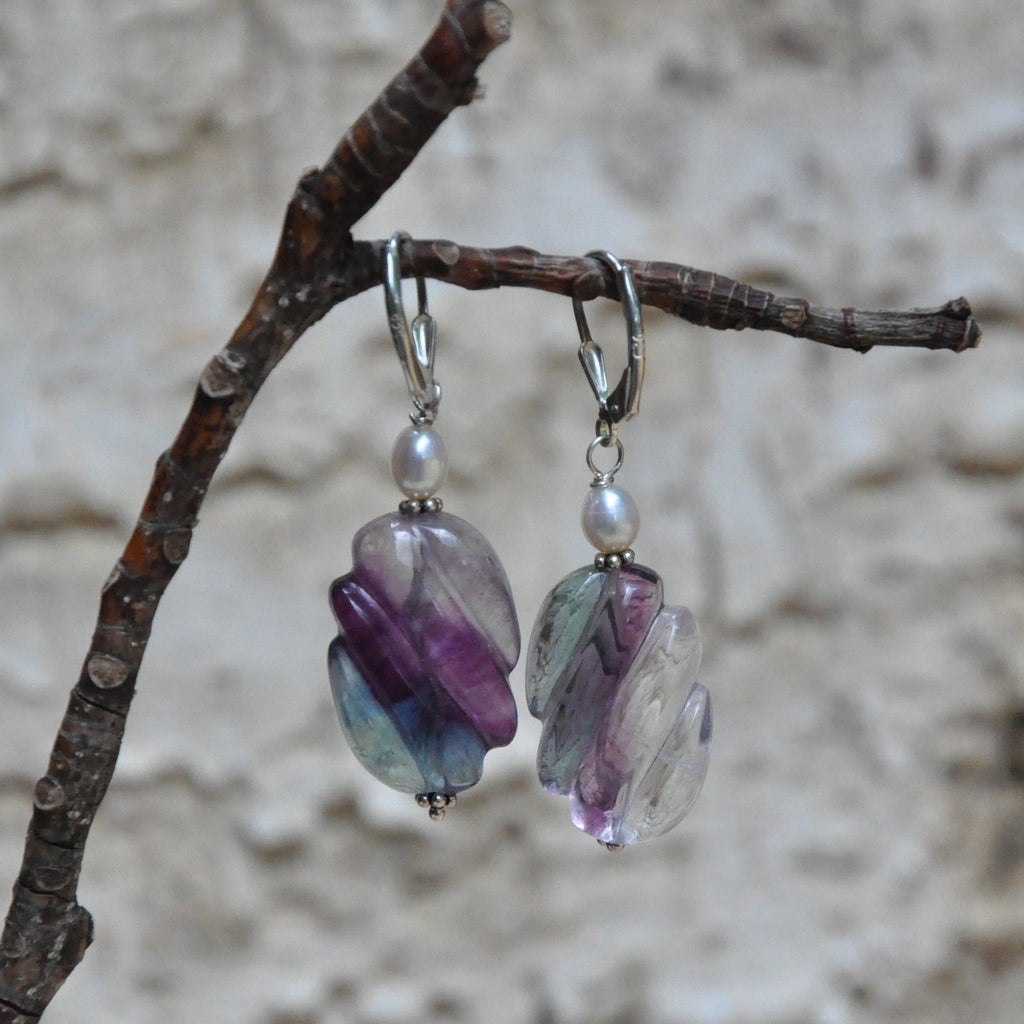 """Rainbow Ripples"" Rainbow Fluorite Earrings"