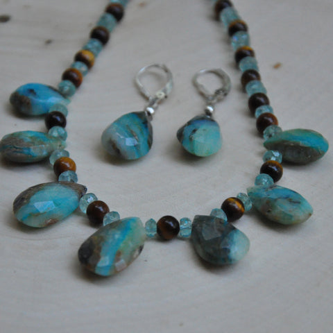 """Peruvian Splendor"" Peruvian Opal Necklace & Earring Set"