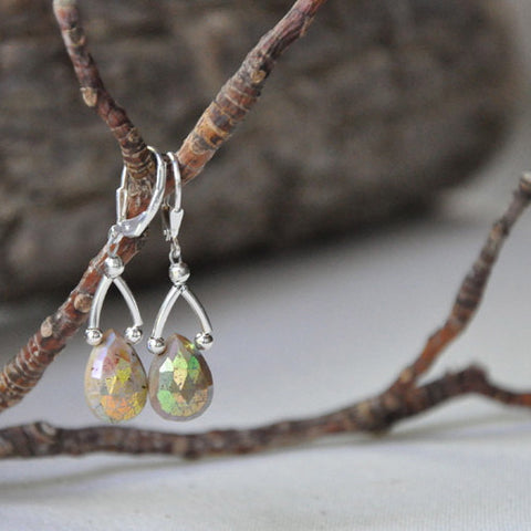 """Sea Shine"" Brown Aquamarine Earrings"
