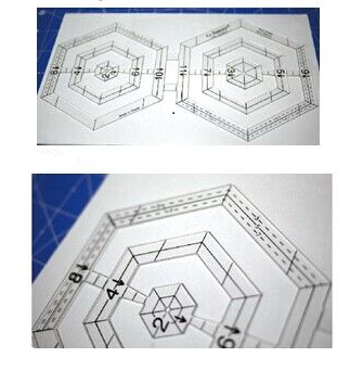 Two hexagon quilting ruler