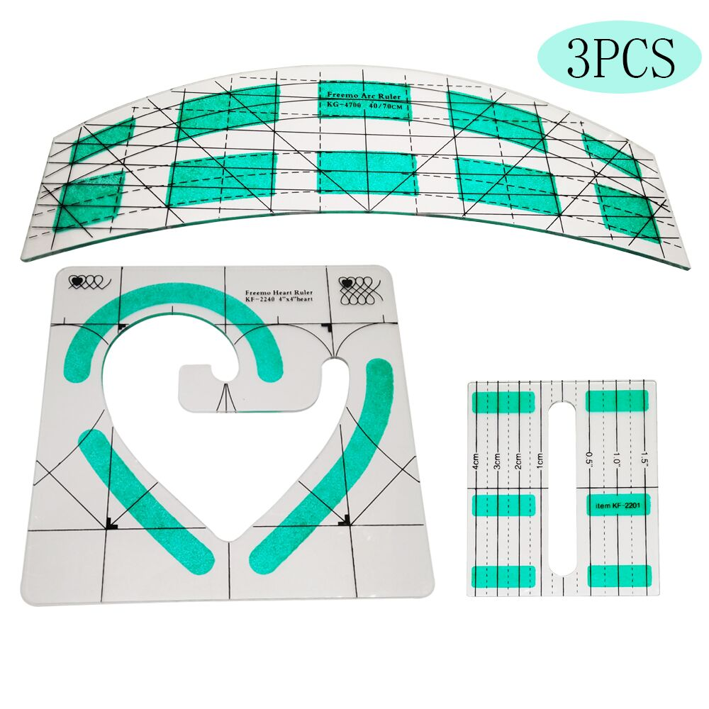 Non-Slip Freemo Heart Ruler Patchwork Quilting Template