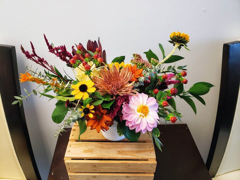 autumn bouquet with dahlia and rudbeckia