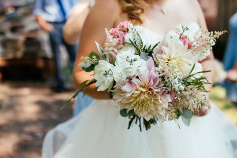cafe au lait dahlia wedding bouquet by Sage Flowers