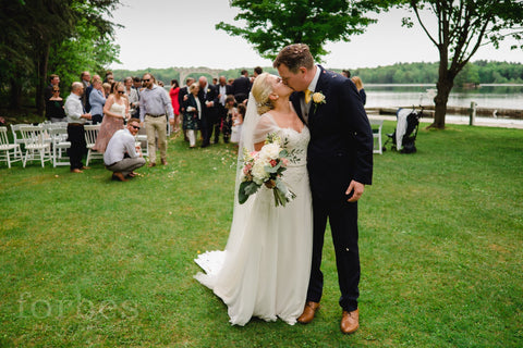 happy couple just married at the opinicon image by forbest photography kingston on