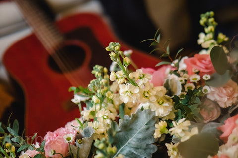 father of the bride's guitar with bridesmaids bouquets by Forbes Photographer