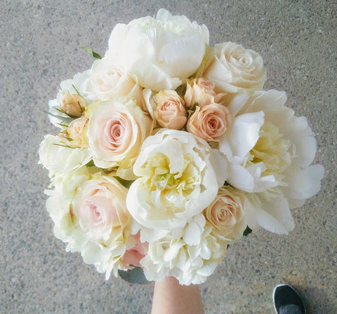 peony and rose bridal bouquet in white and blush Sage Flowers florist Kingston on