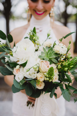 blush white peony and succulent bridal bouquet by Sage Flowers Kingston O