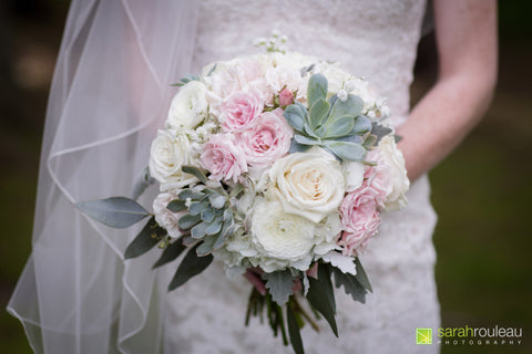 blush and white ranunculus hydrangea and succulent bouquet by Sage Flowers image by Sarah Rouleau photography Kingston On