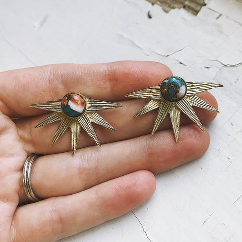 Sun Goddess Sunburst Earrings with Copper Oyster Turquoise - Celestial God Jewelry by Yugen Tribe