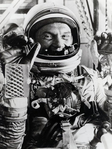 Black and white photograph of astronaut John Glenn, photo credit NASA