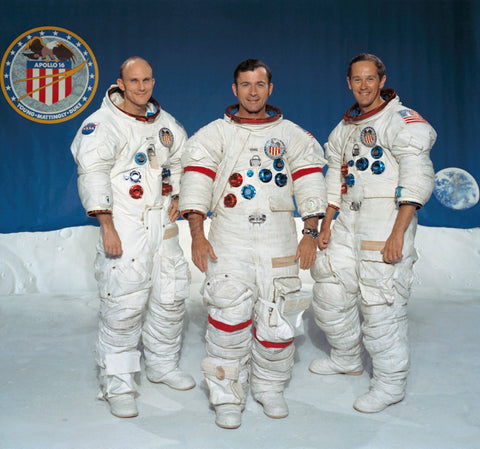 eft to right, Thomas K. Mattingly II, command module pilot; John W. Young, commander; and Charles M. Duke Jr., lunar module pilot.