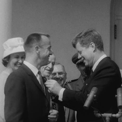 Alan Shepard receiving Medal of Honor from JFK