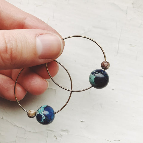 Earth and Moon Jasper Hoop Earrings, celestial jewelry by Yugen Tribe