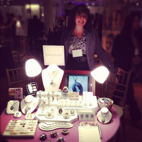 Lauren Beacham with handmade jewelry on display at The Wedding Salon
