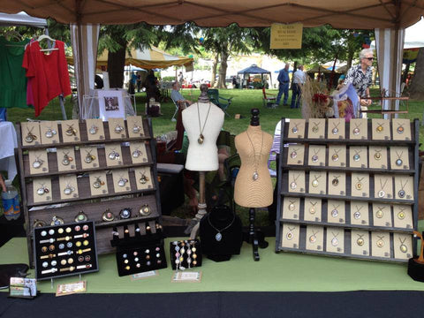 Lauren Beacham polaroid jewelry at outdoor market