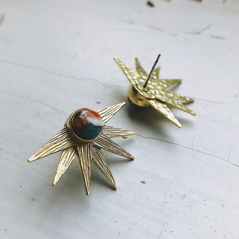 Sun Goddess Earrings - Gold Sunburst Earrings with Copper Oyster Turquoise by Yugen Tribe
