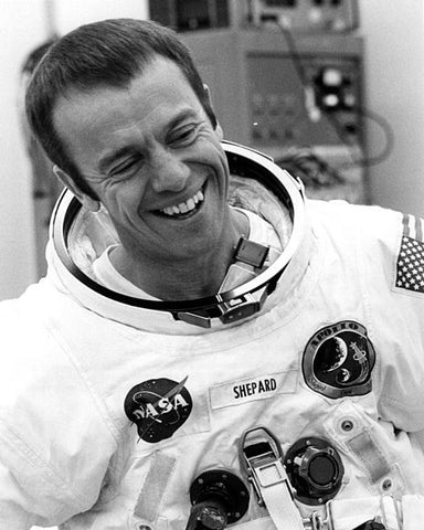 Photo of Alan Shepard on Apollo 14 mission, photo credit NASA