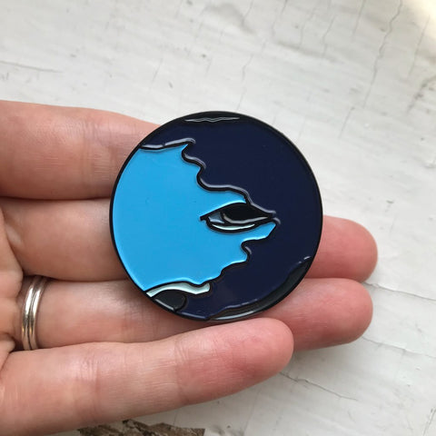 Neptune Illustrated Planetary Enamel Pin by Yugen Tribe