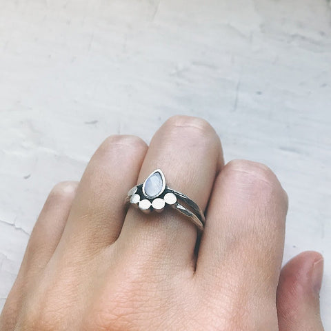 Moonstone Teardrop Ring by Yugen Tribe - Moondrop Silver Ring