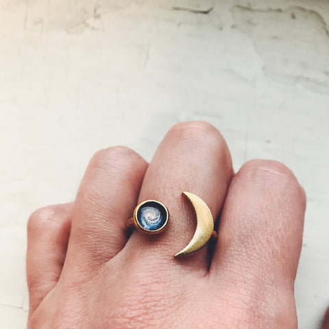 Crescent moon ring with custom celestial image - cosmos jewelry by Yugen Tribe