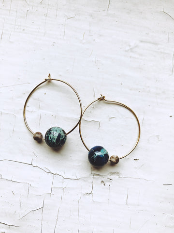 Earth and Moon Hoops with Natural Jasper - Beaded Celestial Jewelry by Yugen Tribe