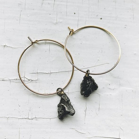 Raw Meteorite Earrings - Gold Hoop Earrings with Meteorites - Cosmic Outer Space Jewelry with Meteors by Yugen Tribe