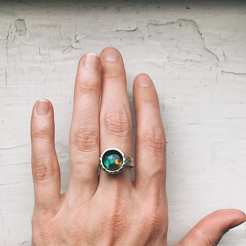Chunky Hammered Silver Adjustable Ring with Custom Galaxy - You Choose Outer Space Image or Planet, Handcrafted Celestial Jewelry by Yugen Tribe