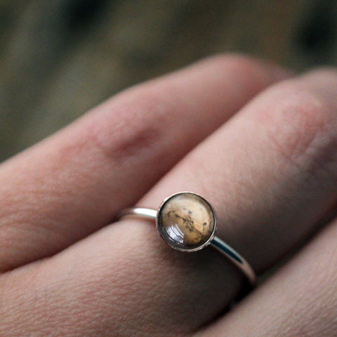 Sterling Silver Ring with Mars - Planet Jewellery by Yugen Tribe, Cosmic Gifts, Galaxy Wedding Jewelry