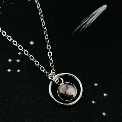 My Moon Custom Lunar Phase Halo Pendant, Small Celestial Handmade Jewelry