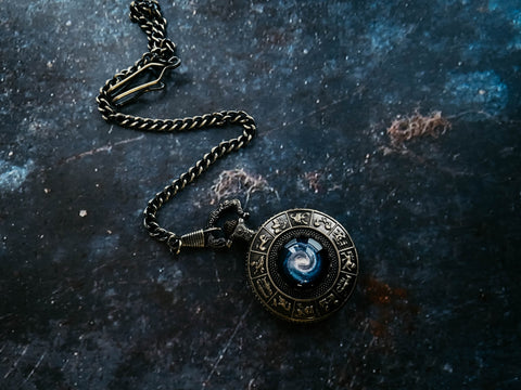 Galaxy Zodiac Sign Pocket Watch with Milky Way - Outer Space Accessories for Men by Yugen Tribe