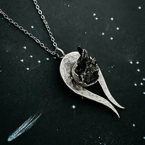 Comet necklace with authentic meteorite by Yugen Tribe