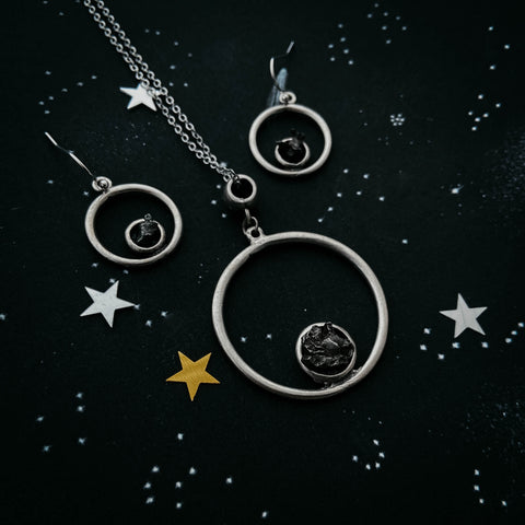 Meteorite jewelry set - simple circle necklace and earrings