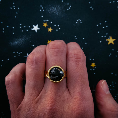 Authentic meteorite jewelry set giveaway on Yugen Tribe blog - adjustable gold ring with raw chunk of meteor