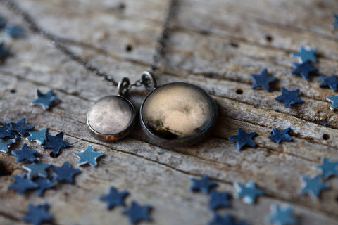 Pluto and Charon Necklace - Planetary Cosmic Jewelry by Yugen Tribe