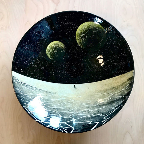 Outer space astronaut space exploration hand painted ceramic plate