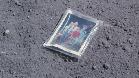 Family portrait on the moon left behind by astronaut Charles Duke