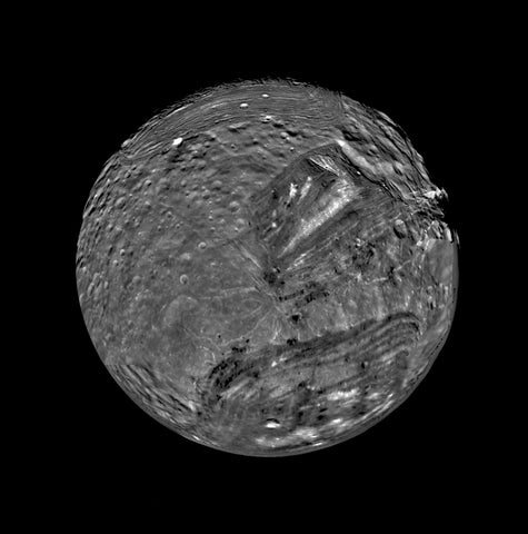 Uranium Moon Miranda by Voyager 2 Probe