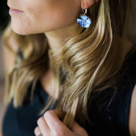 Interchangeable Dangle Earrings with LightSail Spacecraft Images from Space - Handcrafted Exploration Jewelry by Yugen Tribe for The Planetary Society